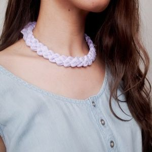 Finger Knitted Lilac purple TShirt Yarn Necklace